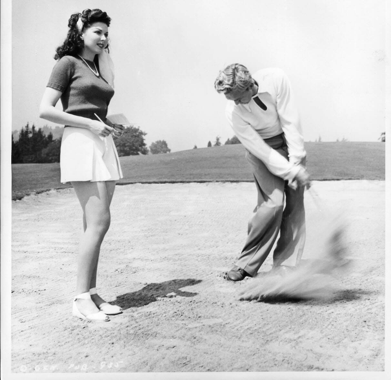 Ann Miller Estate Ann Miller Forrest Tucker 8 X 10 Black And White Vintage Photo Golf Diamond Antiques